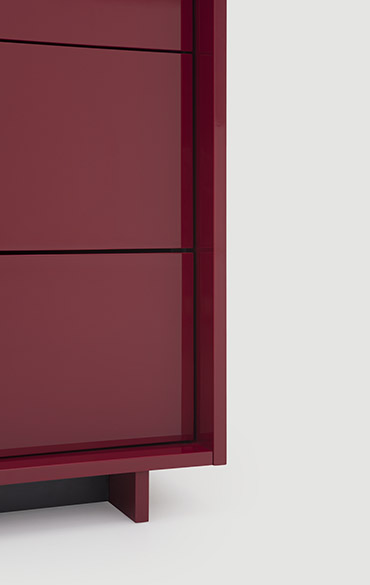 Pianca casegood Kyoto, dresser, night table with push pull opening and additional trays, available in matt or high gloss lacquered colours and wood