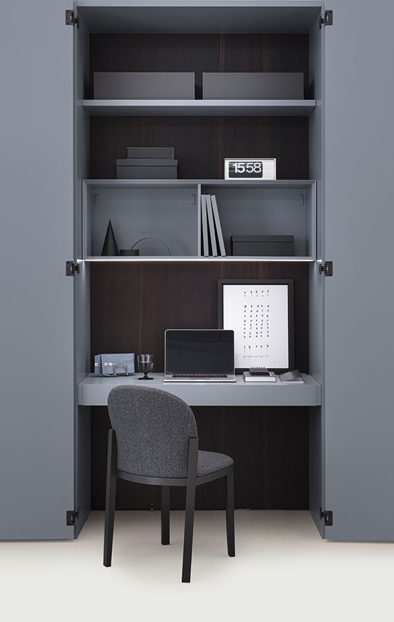 Pianca armadio Amalfi con anta legno con apertura battente, scorrevole, complanare e cardine, disponibile in laccato opaco ed essenza, modulo home office