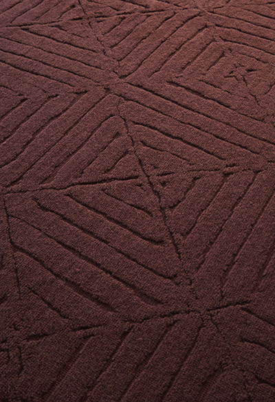 red wool rug made in italy hand-manufactured in Sardinia