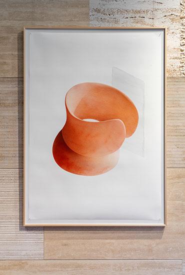 illustrazione di Simone Bonanni esposta presso il negozio di pianca a milano