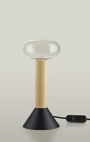 lampada da tavolo moderna con calotta in vetro di design Pianca