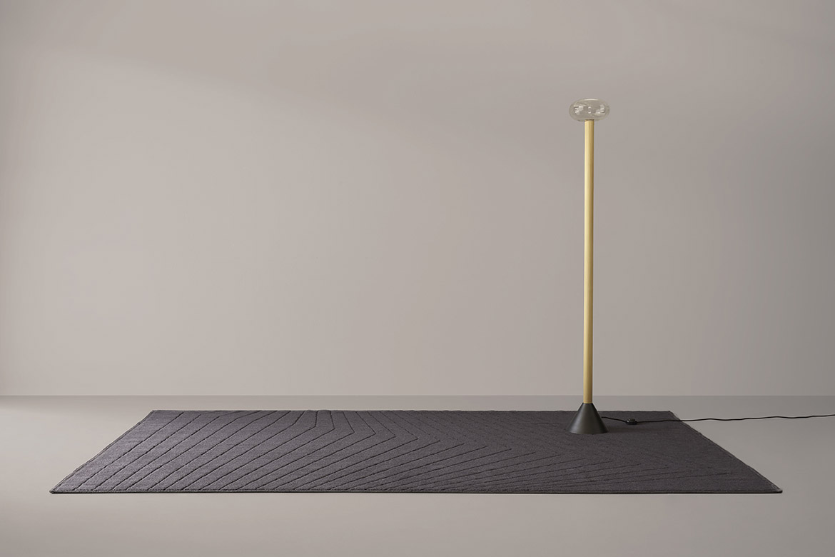 Pedra rug and milu floor light with dimmable led design made in italy